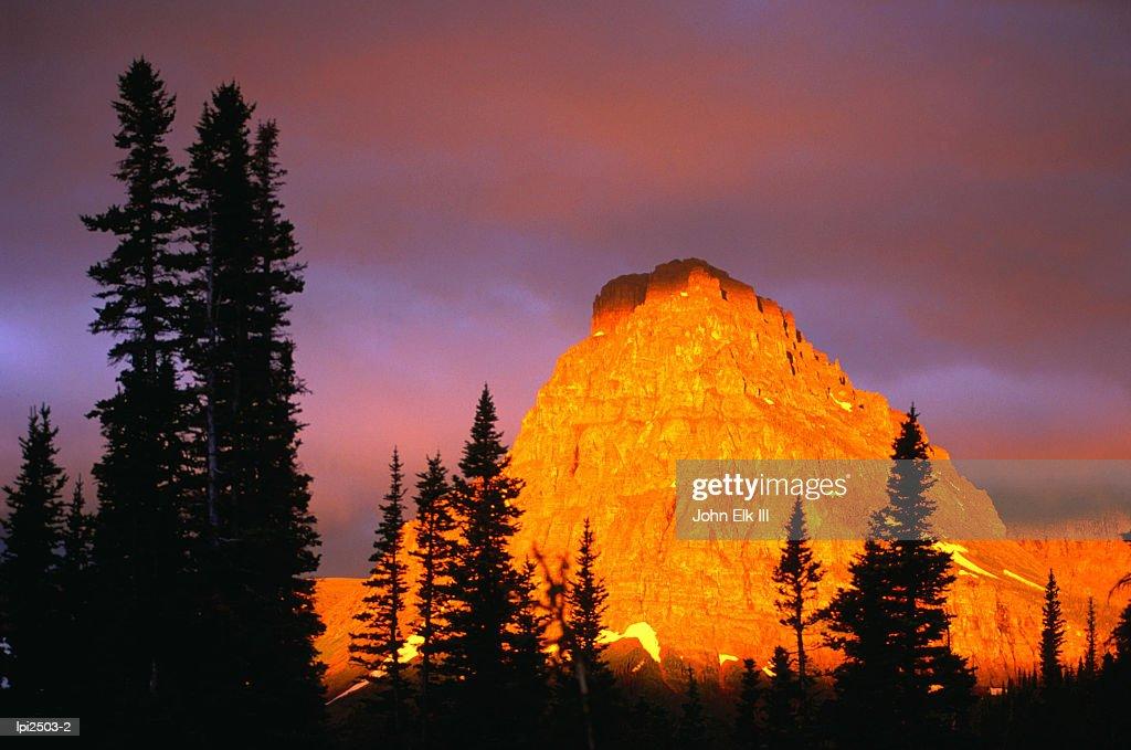 Sunrise on Sinopah Mountain at Two Medicine Lake - Glacier National Park, Montana,Glacier National Park,Montana,United States of America,North America : Stock Photo