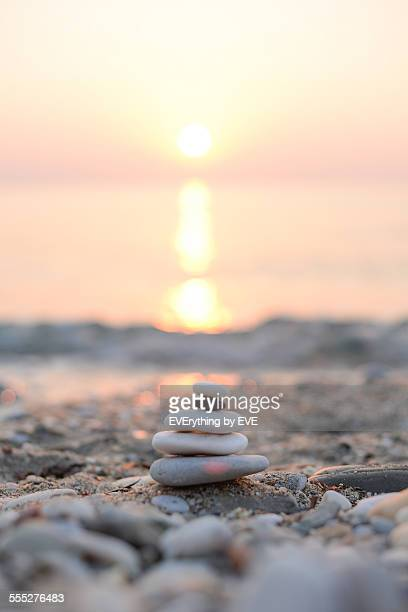 sunrise on the beach at sea - thasos stock photos and pictures