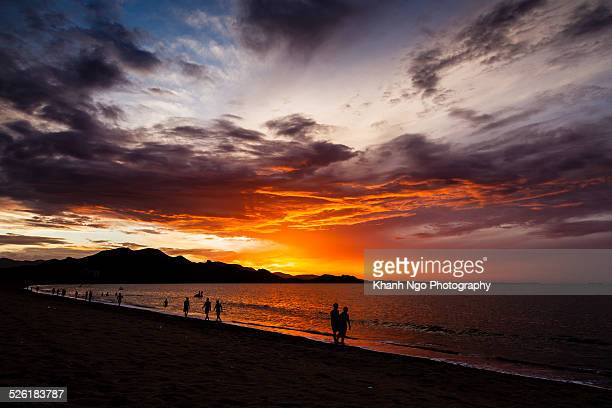 sunrise on the beach - khanh ngo stock pictures, royalty-free photos & images