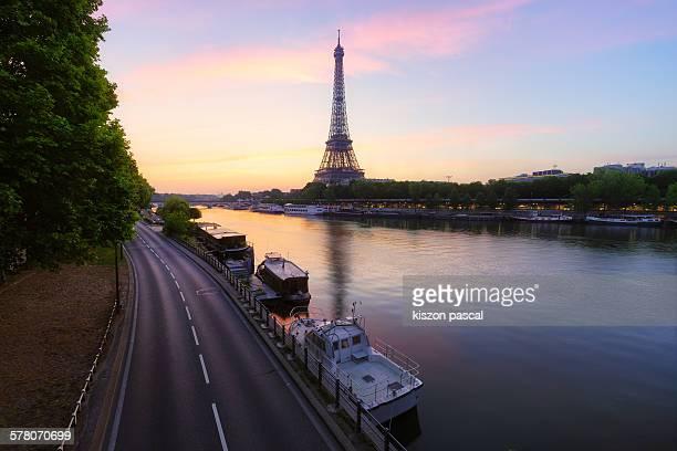 Sunrise on the Eiffel tower . .