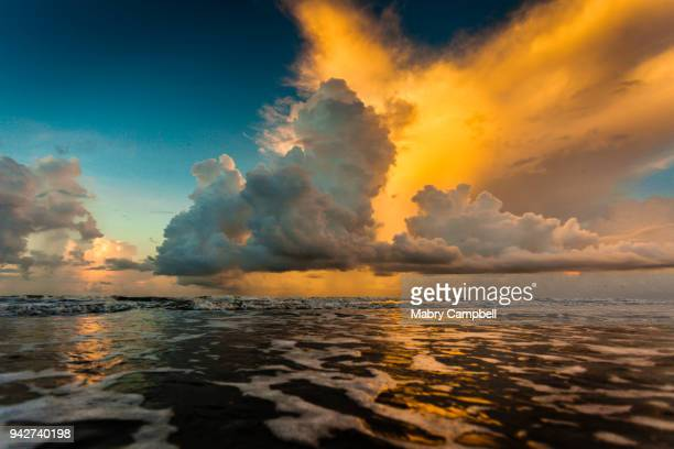 sunrise on the gulf of mexico - texas gulf coast stock photos and pictures