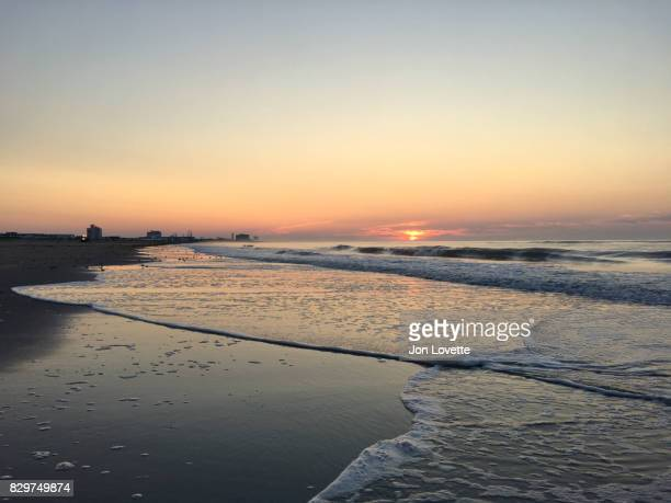 sunrise on the jersey shore - ocean city new jersey stock photos and pictures