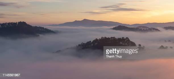 Sunrise on the misty valley
