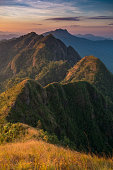 Sunrise on the Mountain with moving mist in mae hong son Thailandfor nature background