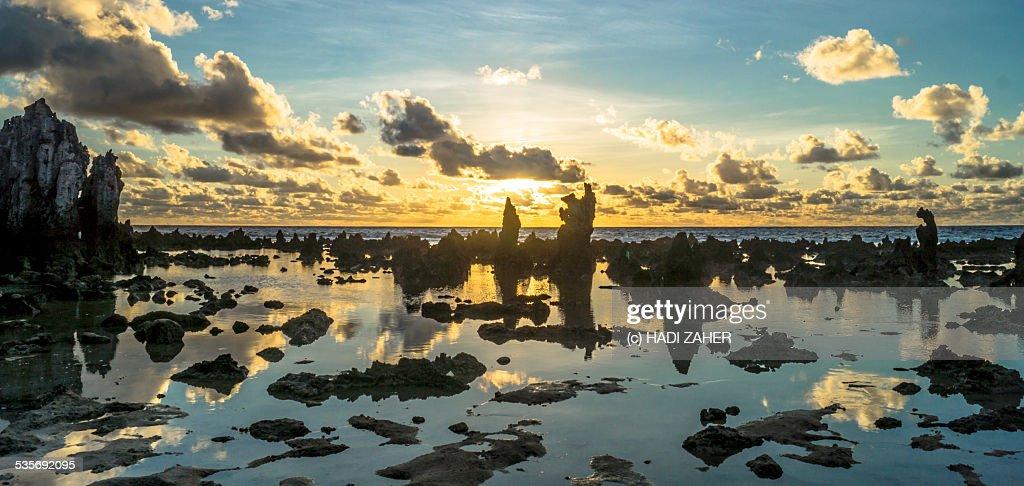 Sunrise on the Rocks | Nauru : Stock Photo