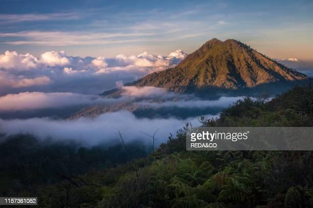 Sunrise on the top of Kawa Ijen Java Indonesia Southeast Asia Asia