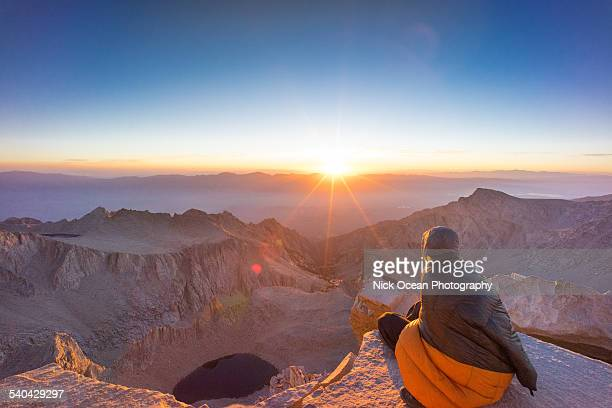 sunrise on the top of mount whitney. - john muir trail stock photos and pictures