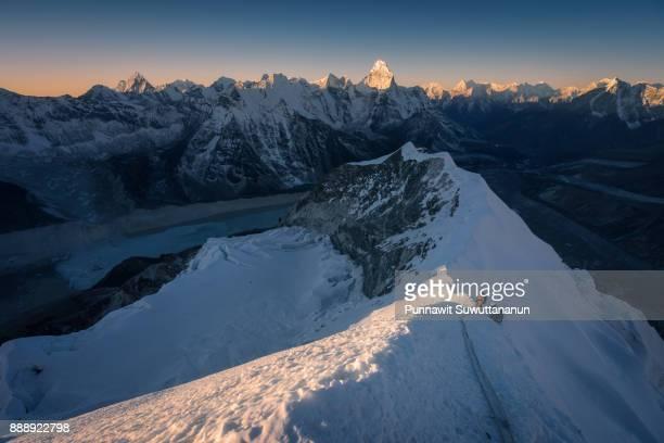 Sunrise on top of Island peak mountain, Everest region, Nepal
