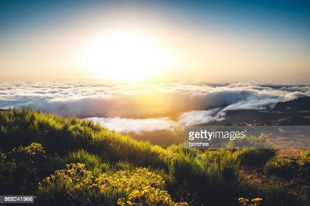 lever du soleil au sommet du pico de arieiro sur l'île de madère - paysage enchanteur photos et images de collection