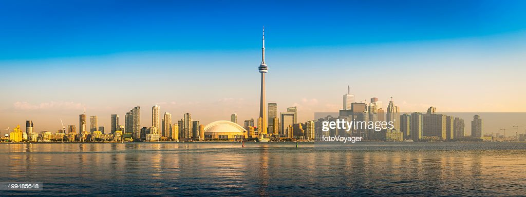 Sunrise on Toronto CN Tower downtown skyscraper waterfront panorama Canada : Stock Photo