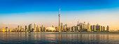 Sunrise on Toronto CN Tower downtown skyscraper waterfront panorama Canada