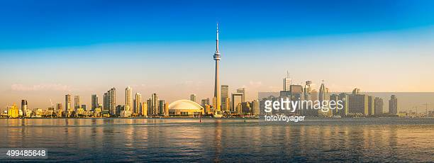 Sunrise on Toronto CN Tower downtown skyscraper waterfront panorama Canada