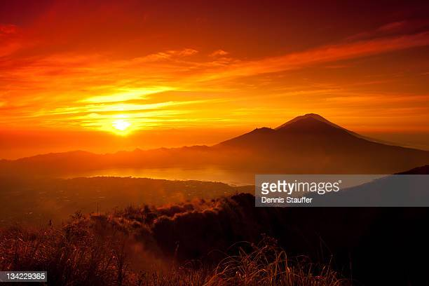 sunrise oover mountain landscape - kintamani district stock pictures, royalty-free photos & images