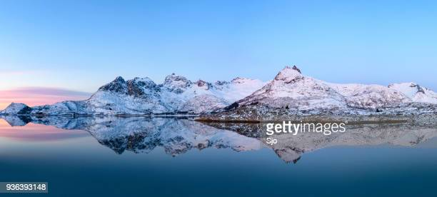 Sunrise over a Fjord in the Lofoten during a cold winter morning