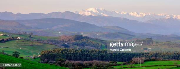 sunrise over a mountain landscape in cantabria/spain - martial stock pictures, royalty-free photos & images