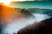 Sunrise over a Romanian village