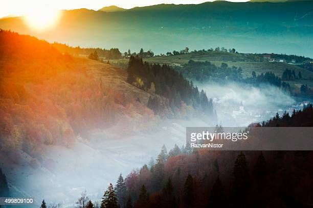 Sunrise over a Romanian village