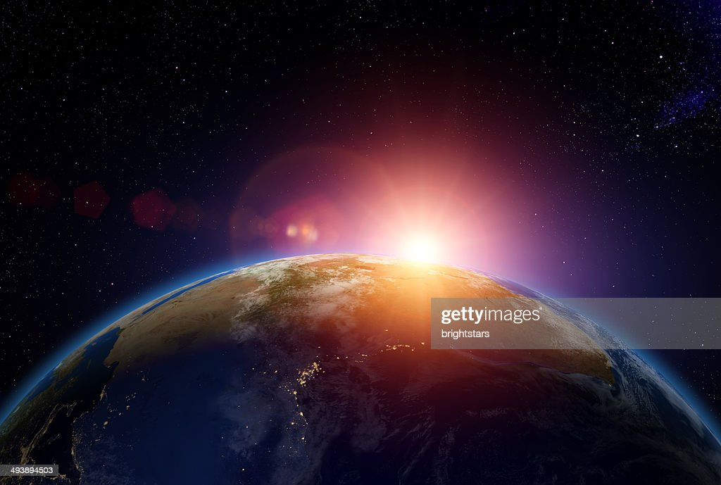 Sunrise over Africa from space : Stock Photo