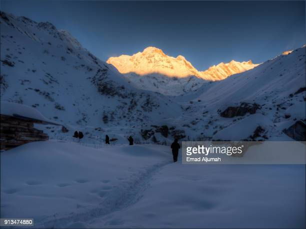 Sunrise over Annapurna South, Machapuchare Base Camp, Nepal - March 5, 2017