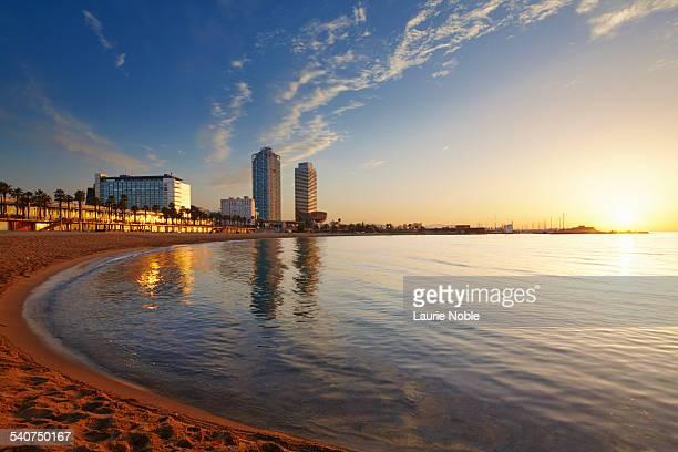 Sunrise over Barcelona beach, Barceloneta