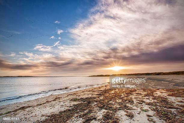 sunrise over brancaster in north norfolk - norfolk east anglia - fotografias e filmes do acervo