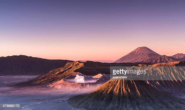 Sunrise over Bromo and Semeru volcanoes in Indonesia