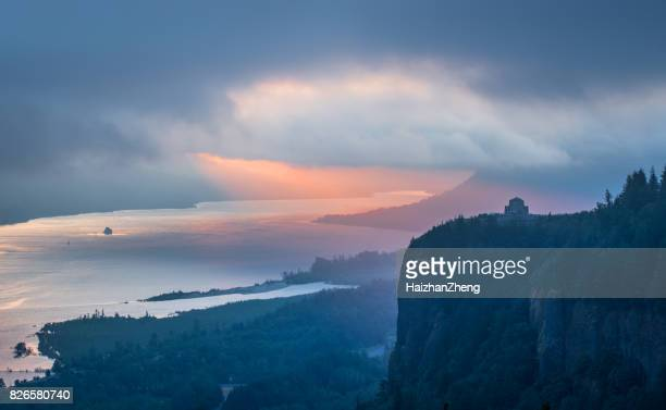 sunrise over crown point at columbia river gorge - columbia river gorge stock pictures, royalty-free photos & images