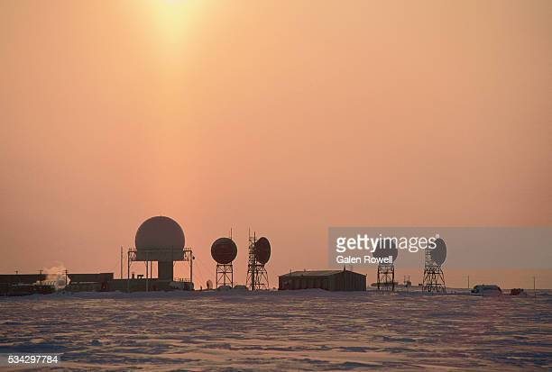 sunrise over dew line station - barrow alaska stock pictures, royalty-free photos & images