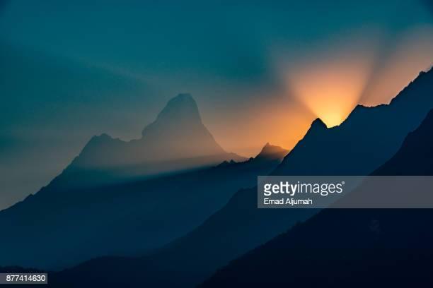 Sunrise over Everest mountain range, Everest Region, Nepal - April 29, 2016
