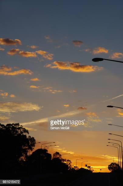 Sunrise over Fairbairn Avenue, Campbell, Australian Capital Territory, Australia