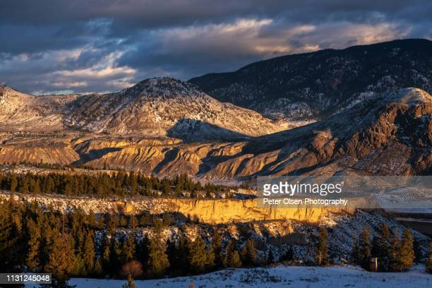 sunrise over hoodoos - kamloops stock pictures, royalty-free photos & images
