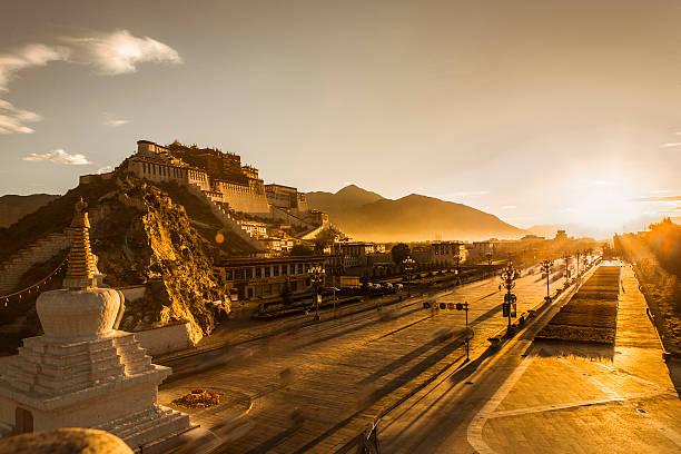Sunrise over Lhasa onto Potala