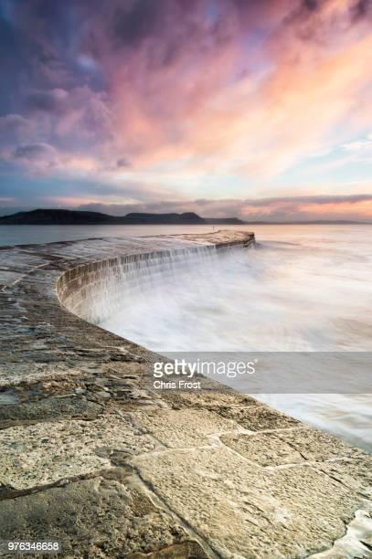 sunrise over lyme regis, uk - lyme regis fotografías e imágenes de stock