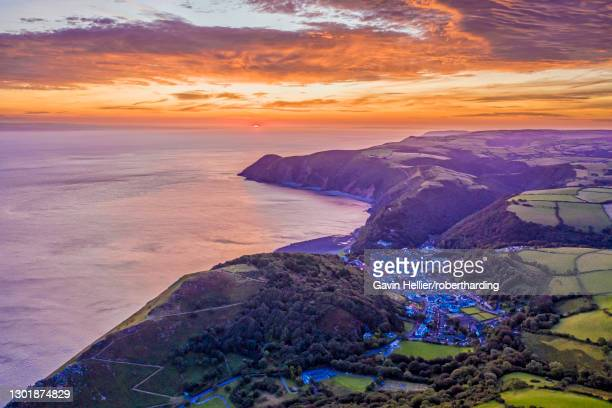 sunrise over lynton, exmoor national park, north devon, england, united kingdom, europe - gavin hellier stock pictures, royalty-free photos & images