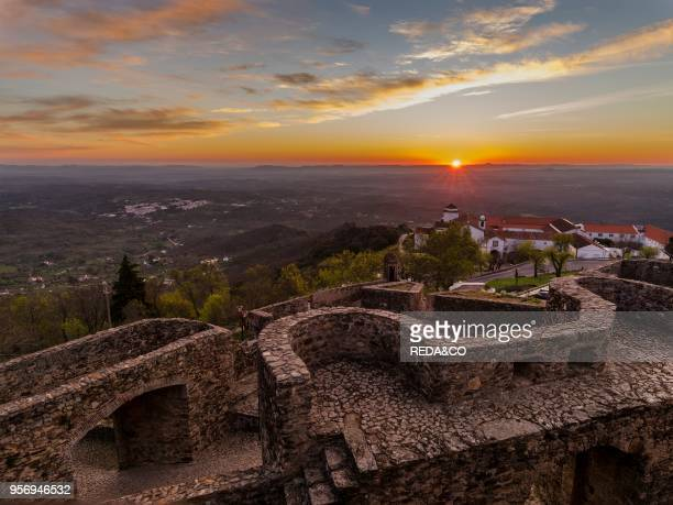 Sunrise over Marvao a famous medieval mountain village and tourist attraction in the Alentejo Europe Southern Europe Portugal Alentejo