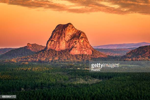 Sunrise over Mount Tibrogargan in Glass House Mountains of Queensland