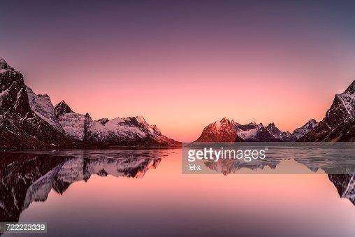 Sunrise over mountains, Lofoten, Norway