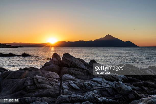 sunrise over mt. athos - seascape stock pictures, royalty-free photos & images