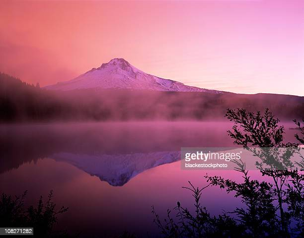 Sunrise Over Mt Hood and Foggy Trillium Lake