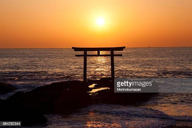 Sunrise over Oarai seashore