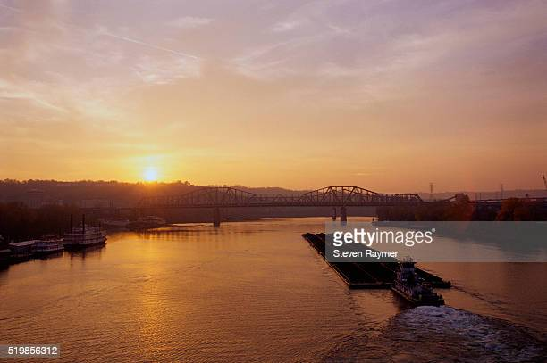 sunrise over ohio river - ohio stock pictures, royalty-free photos & images