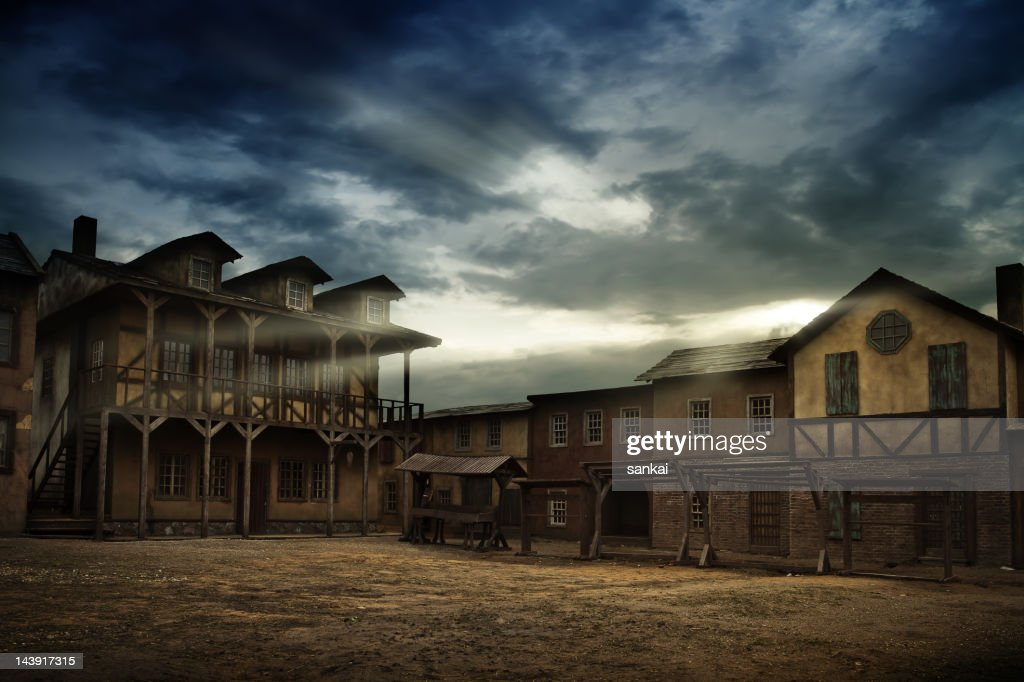 Sunrise over old town : Stock Photo
