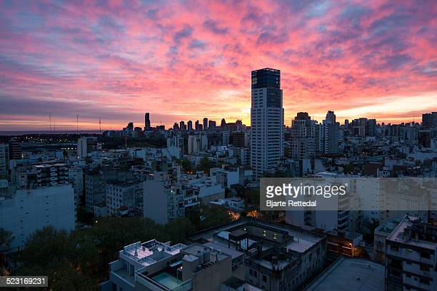 sunrise over palermo soho - palermo buenos aires stock photos and pictures