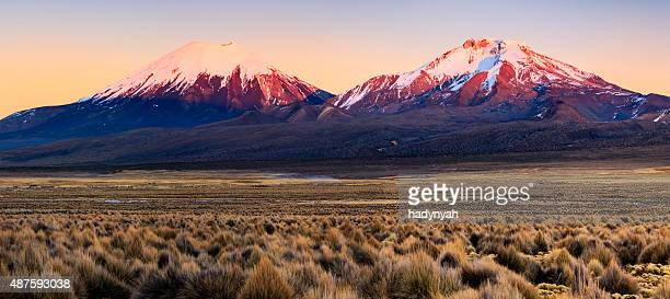 Sunrise over Parinacota Volcano in Sajama National Park, Bolivia