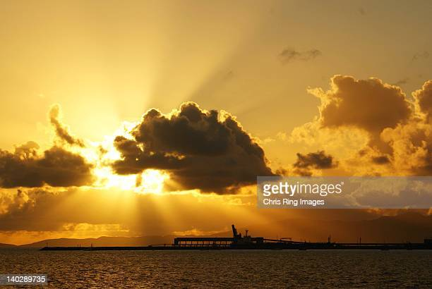 Sunrise over port of Townsville