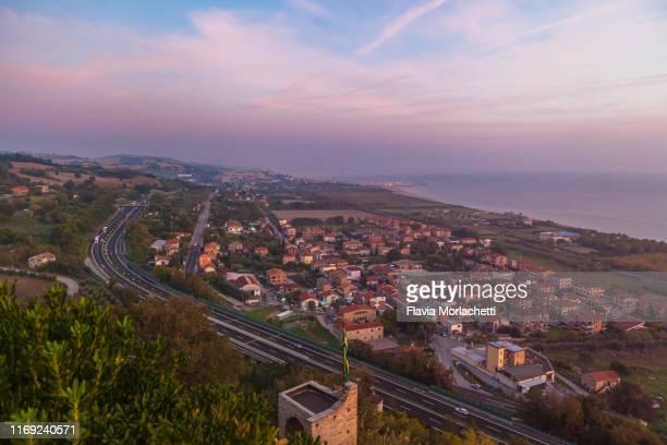 sunrise over porto san giorgio - marche italia foto e immagini stock