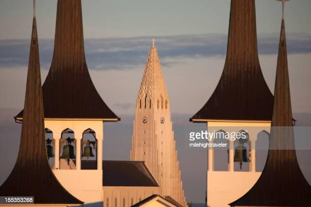 Sunrise over Reykjavík's Lutheran church steeples Iceland horizontal