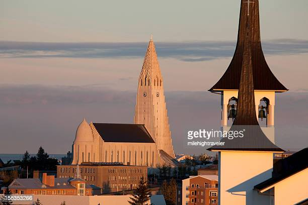 Sunrise over Reykjavík's Lutheran churches Iceland horizontal