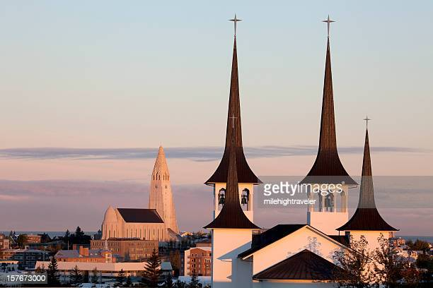 Sunrise over Reykjavík luterana iglesias Islandia