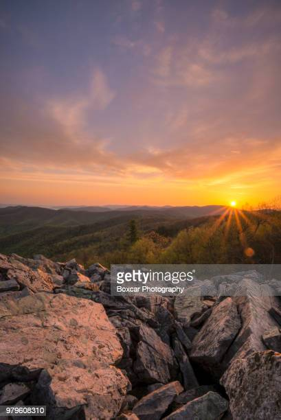 sunrise over rocks, shenandoah national park, virginia, usa - shenandoah_national_park stock pictures, royalty-free photos & images
